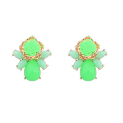 Boxed Green Sweet Rose Flower Decorated Alloy Stud Earrings