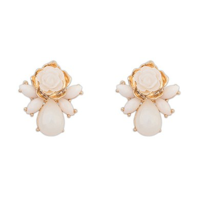 Mechanic Beige Sweet Rose Flower Decorated Alloy Stud Earrings