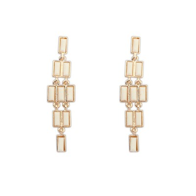Propper Beige Rectangle Gemstone Long Dangle Design Alloy Korean Earrings