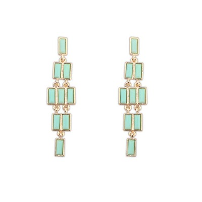 Maxi Light Green Rectangle Gemstone Long Dangle Design Alloy Korean Earrings
