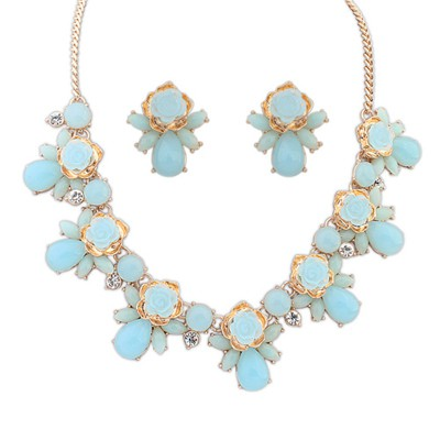 Tapered Light Blue Sweet Rose Flower Gemstone Decorated Alloy Jewelry Sets