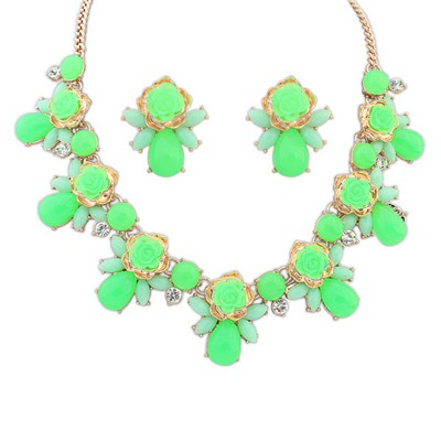 Limited Green Sweet Rose Flower Gemstone Decorated Alloy Jewelry Sets