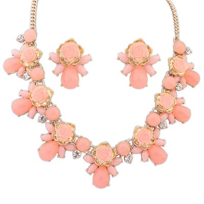 Floral Pink Sweet Rose Flower Gemstone Decorated Alloy Jewelry Sets