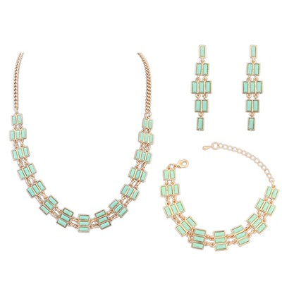 Maternity Light Green Multi Rows Gemstone Decorated Alloy Jewelry Sets