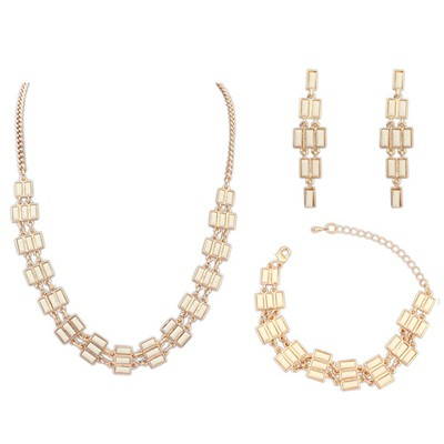 Torrid Beige Multi Rows Gemstone Decorated Alloy Jewelry Sets