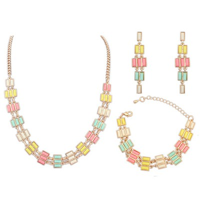 Aluminium Multicolor Multi Rows Gemstone Decorated Alloy Jewelry Sets