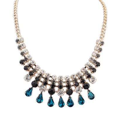 Digital Sapphire Punk Style Water Drop Pendant Alloy Bib Necklaces