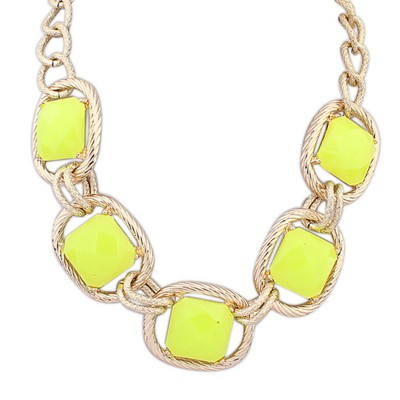 Wedding Yellow Five Square Shape Gemstones Decorated Alloy Bib Necklaces