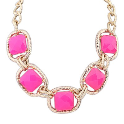 Quicksilve Plum Red Five Square Shape Gemstones Decorated Alloy Bib Necklaces