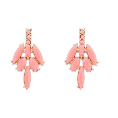 Memorable Pink Leaves Temperament Elegant Design Alloy Stud Earrings