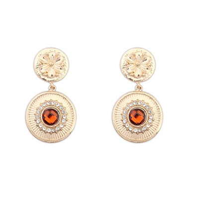 High Quali Coffee Gemstone Decorated Circle Dangle Design Alloy Korean Earrings