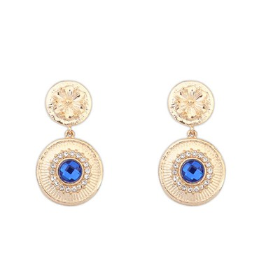 Electronic Sapphire Gemstone Decorated Circle Dangle Design Alloy Korean Earrings