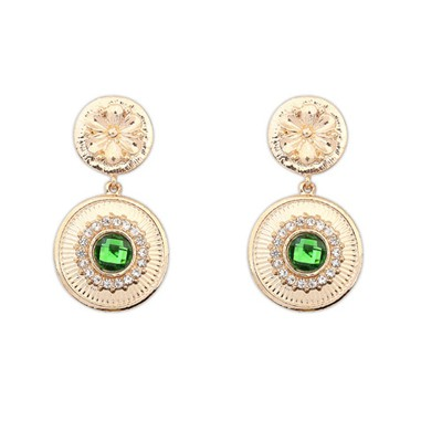 Elegant Green Gemstone Decorated Circle Dangle Design Alloy Korean Earrings