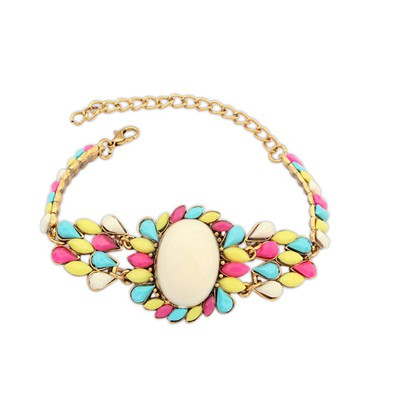 Lush Multicolor Bohemia Style Metal Inlaid Fluorescence Gemstone Alloy Korean Fashion Bracelet