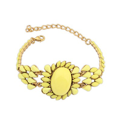 Unusual Yellow Bohemia Style Metal Inlaid Fluorescence Gemstone Alloy Korean Fashion Bracelet