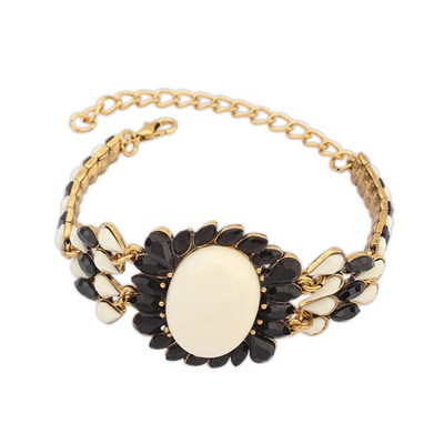 Business Black&Beige Bohemia Style Metal Inlaid Fluorescence Gemstone Alloy Korean Fashion Bracelet