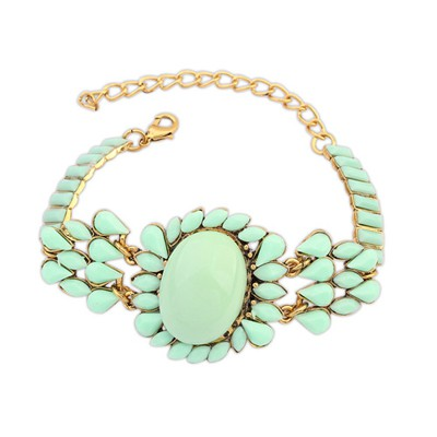 Memorial Light Green Bohemia Style Metal Inlaid Fluorescence Gemstone Alloy Korean Fashion Bracelet
