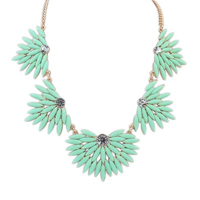 Misses Light Green Candy Color Leaves Temperament Design Alloy Bib Necklaces