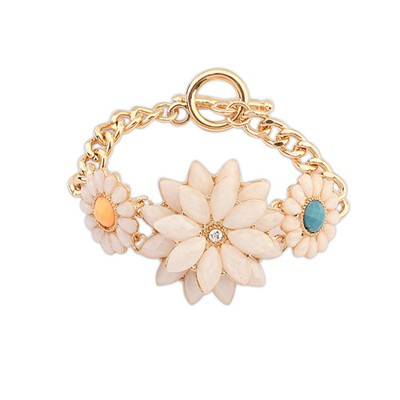 Extreme Light Pink Exquisite Snow Lotus Flower Temperament Alloy Korean Fashion Bracelet