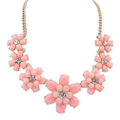 Classical Pink Sweet Flower Gemstone Decorated Alloy Bib Necklaces