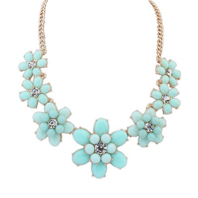 Old Light Blue Sweet Flower Gemstone Decorated Alloy Bib Necklaces