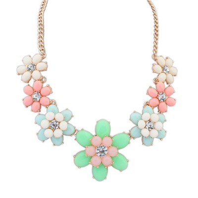 Vera Multicolor Sweet Flower Gemstone Decorated Alloy Bib Necklaces