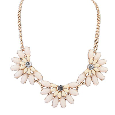Slim Beige Three Fan Shape Gemstone Decorated Alloy Bib Necklaces