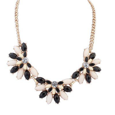 Asian Black&Beige Three Fan Shape Gemstone Decorated Alloy Bib Necklaces
