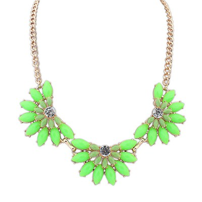 Petite Grass Green Three Fan Shape Gemstone Decorated Alloy Bib Necklaces