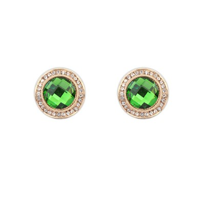Graduated Green Exquisite Round Shape Gemstone Design Alloy Stud Earrings