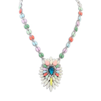 Indian Multicolor Multilayer Petals Oval Shape Pendant Alloy Bib Necklaces