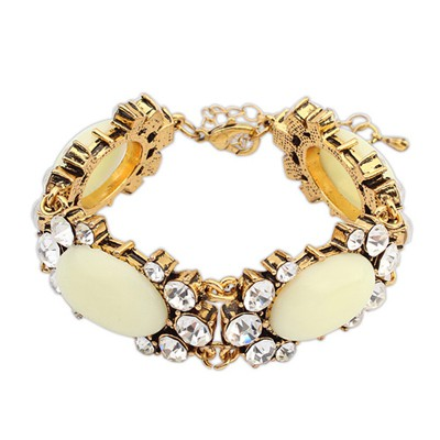 2013 Beige Four Oval Shape Gemstone Decorated Alloy Korean Fashion Bracelet