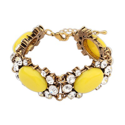 Cool Yellow Four Oval Shape Gemstone Decorated Alloy Korean Fashion Bracelet