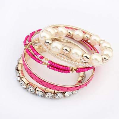 Jogging Plum Red Diamond Pearl Decorated Multilayer Design Alloy Fashion Bangles
