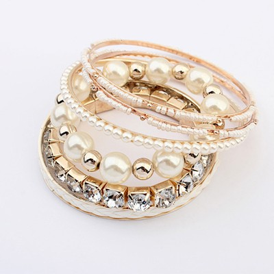 Scrapbooki Beige Diamond Pearl Decorated Multilayer Design Alloy Fashion Bangles