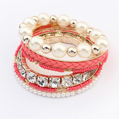 Skeleton Peach Red Diamond Pearl Decorated Multilayer Design Alloy Fashion Bangles