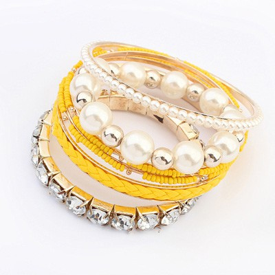Pendant Yellow Diamond Pearl Decorated Multilayer Design Alloy Fashion Bangles