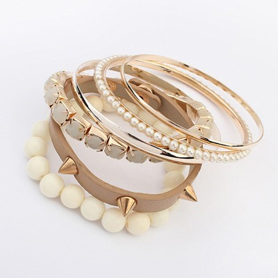 Tummy Beige Rivet Decorated Punk Style Alloy Fashion Bangles