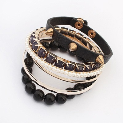 Teen Black Rivet Decorated Punk Style Alloy Fashion Bangles