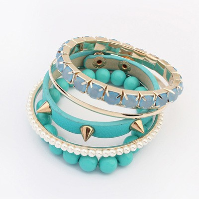 Simple Blue Rivet Decorated Punk Style Alloy Fashion Bangles