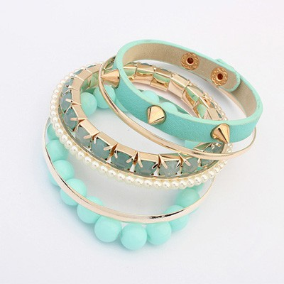 Fantastic Light Blue Rivet Decorated Punk Style Alloy Fashion Bangles