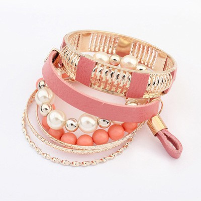 Faux Pink Vintage Hollow Out Metal Pearl Design Alloy Fashion Bangles