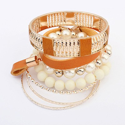 Costume Chocolate Vintage Hollow Out Metal Pearl Design Alloy Fashion Bangles