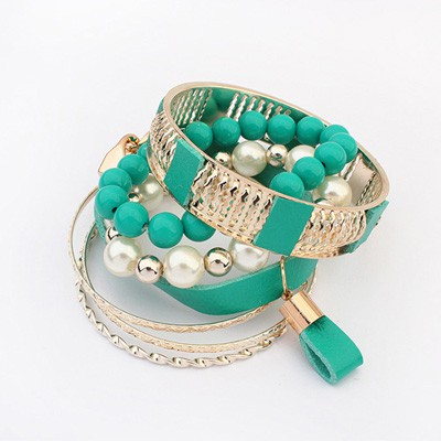 Infinity Peacock Blue Vintage Hollow Out Metal Pearl Design Alloy Fashion Bangles