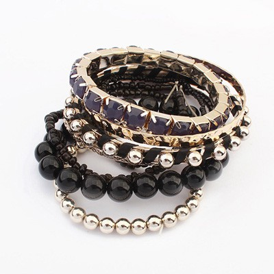 Promise Black National Wind Multilayer Beads Design Alloy Fashion Bangles