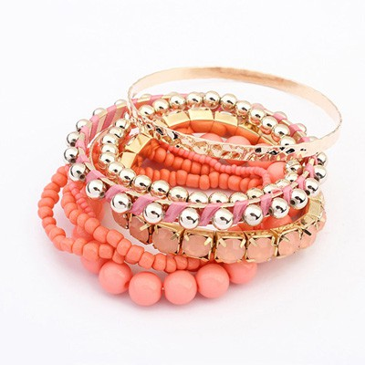 Chiropract Peach Red National Wind Multilayer Beads Design Alloy Fashion Bangles
