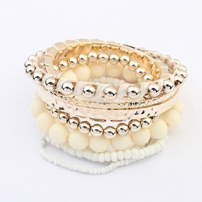 Cherokee Beige National Wind Multilayer Beads Design Alloy Fashion Bangles