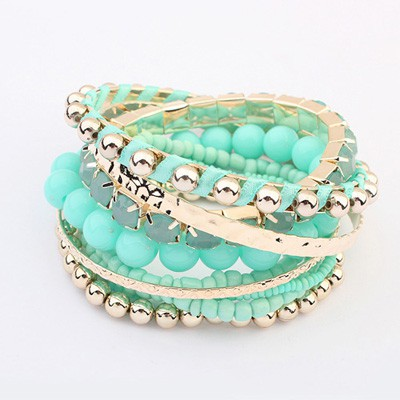Butterfly Light Blue National Wind Multilayer Beads Design Alloy Fashion Bangles