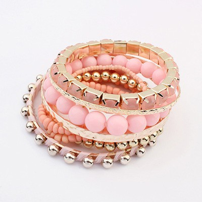 Lined Pink National Wind Multilayer Beads Design Alloy Fashion Bangles