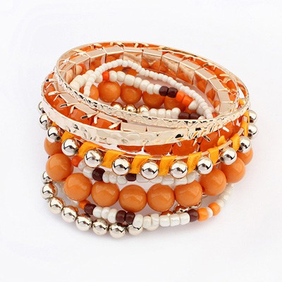 Plated Orange National Wind Multilayer Beads Design Alloy Fashion Bangles